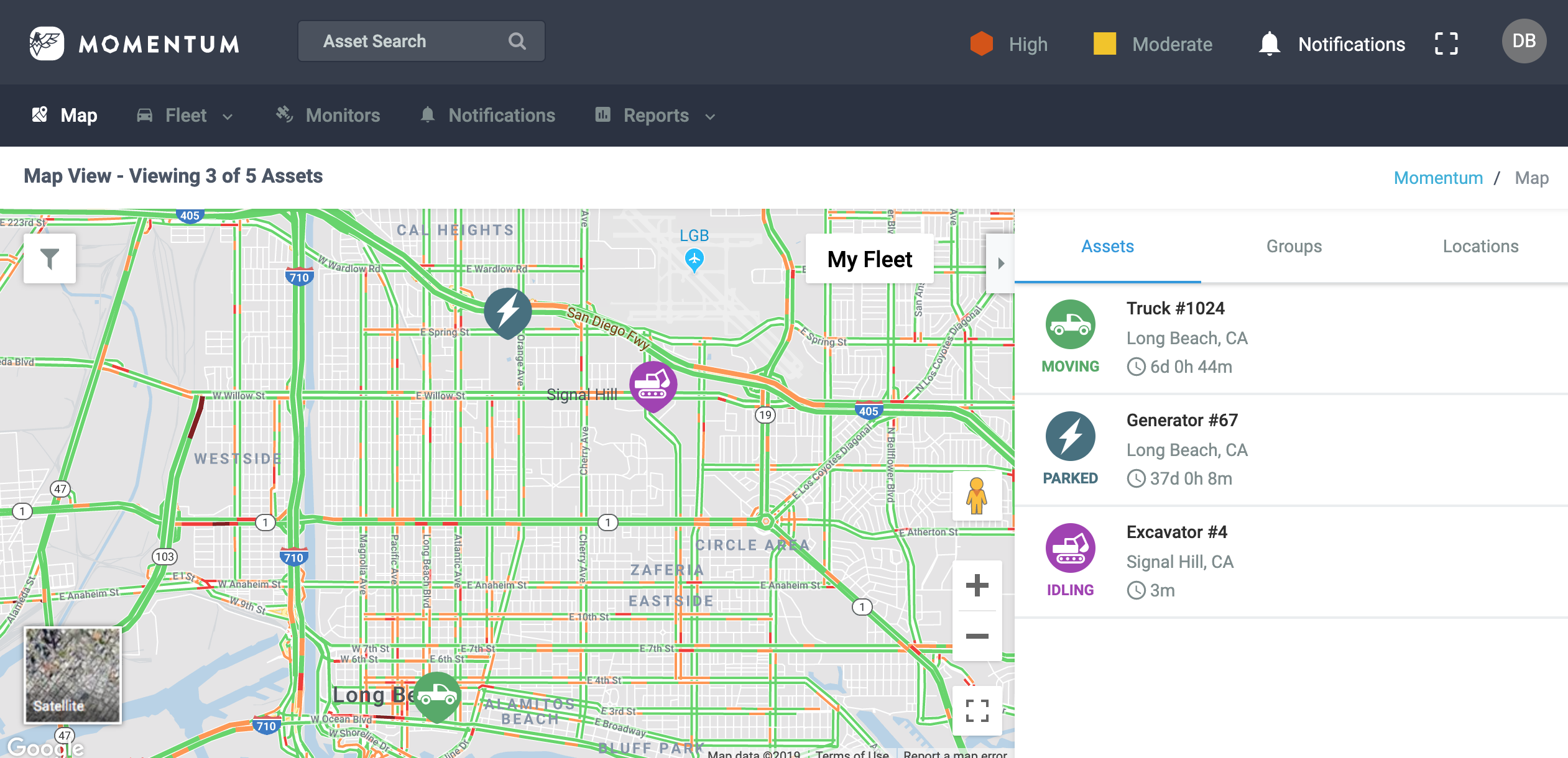 Momentum IoT offers firefighters the ability to see their mixed trucks and equipment on one screen.